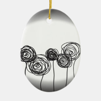 Roses - Black and White Ceramic Oval Decoration