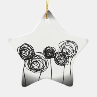 Roses - Black and White Ceramic Star Decoration