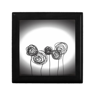 Roses - Black and White Small Square Gift Box