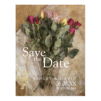 Roses Bouquet Wedding Save the Date Postcard