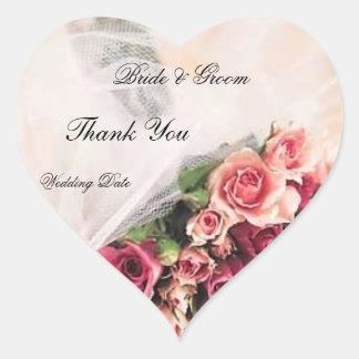 Roses Bouquet Wedding Thank You Heart Sticker