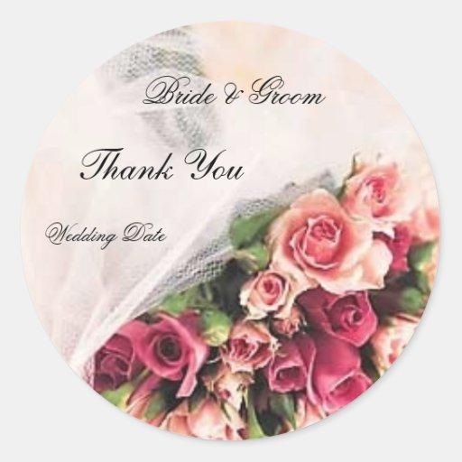 Roses Bouquet Wedding Thank You Round Sticker