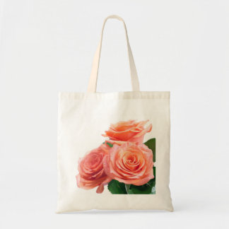 Roses Bouquet With Dew Drops Isolated On White Budget Tote Bag