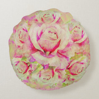 "Roses Brushed Polyester Round Throw Pillow (16"")"