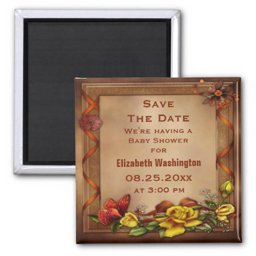Roses & Butterfly Baby Shower Save the Date Magnets