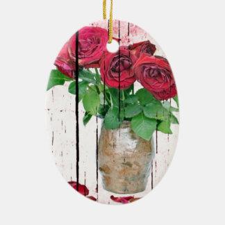 Roses Ceramic Oval Decoration