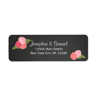 Roses Chalkboard Return Address Labels