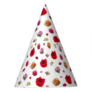 roses collage on white background party hat