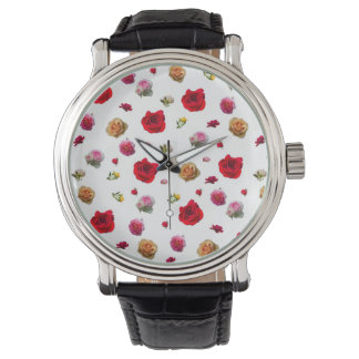 roses collage on white background watch