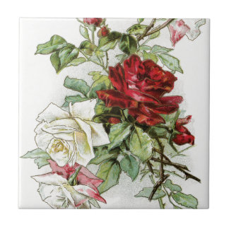 Roses flowers vintage rose victorian small square tile