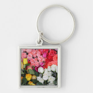 Roses for sale, San Miguel de Allende, Mexico Silver-Colored Square Key Ring