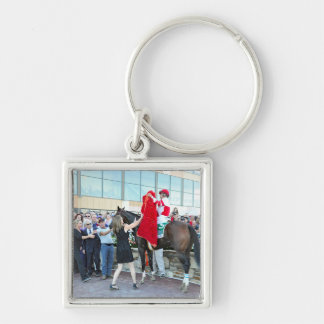 Roses for Songbird Silver-Colored Square Key Ring