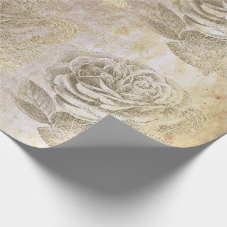 Roses Foxier Gold Pearly Metallic Floral Grungy Wrapping Paper