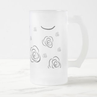 Roses Frosted Glass Beer Mug