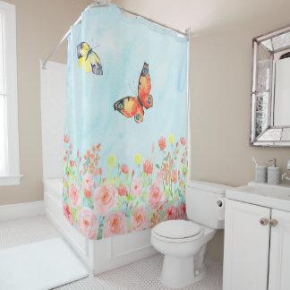 roses garden butterflies pretty pink blue elegant shower curtain