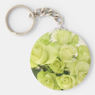 Roses green basic round button key ring
