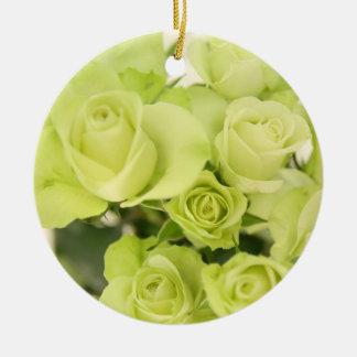 Roses green round ceramic decoration