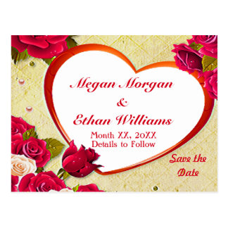 Roses & Heart Frame Save the Date Postcard