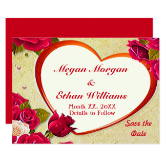 Roses & Heart Frame Save the Date Small Flat Card 9 Cm X 13 Cm Invitation Card