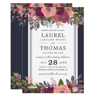 Roses & Hydrangea - Burgundy & Blush Wedding Card