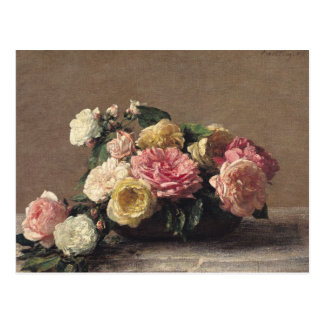 Roses in a Dish, 1882 Postcard