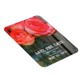 Roses in a Jar Wedding Save The Date Rectangular Magnet