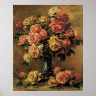 Roses in a Vase 3 by Renoir, Vintage Impressionism Poster