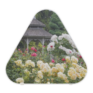 Roses in bloom and Gazebo Rose Garden at the