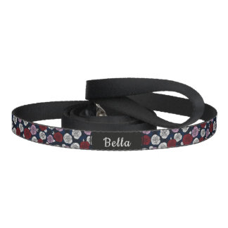 Roses in navy blue, burgundy red and orchid pet leash