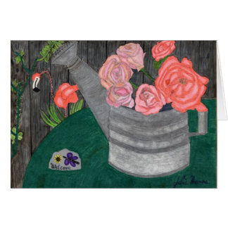 Roses In The Watering Can Card by Julia Hanna