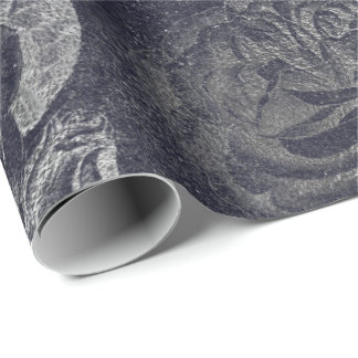 Roses  Metallic Floral Cement Gray Black Wall Wrapping Paper