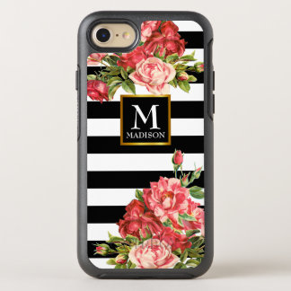 Roses monogram and stripes OtterBox symmetry iPhone 8/7 case