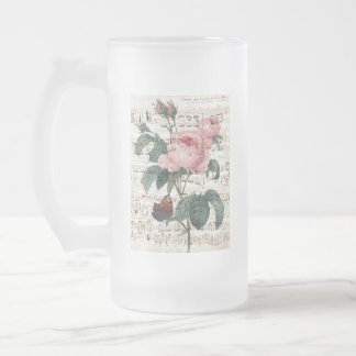 roses musicc frosted glass beer mug