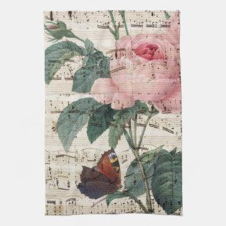 roses musicc tea towel