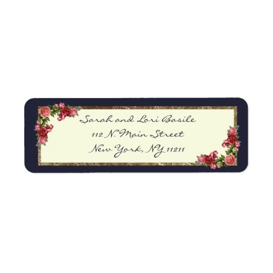 Roses Navy Blue and Gold Sweet 16 Invitations Return Address Label