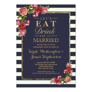 Roses Navy Stripes and Gold Engagement Party 13 Cm X 18 Cm Invitation Card