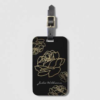 roses, nice floral luggage tag