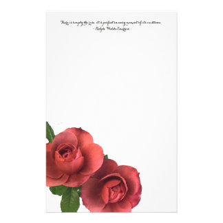 Roses Note Pad with Ralph Waldo Emerson Quote Stationery