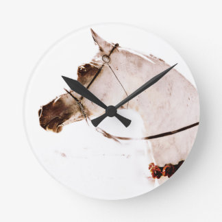 Roses on a Grey Horse Wall Clock