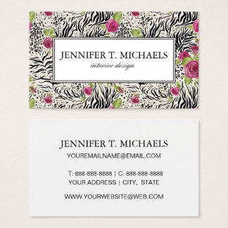 Roses On Animal Pattern Business Card