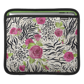 Roses On Animal Pattern Sleeves For iPads