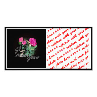 Roses On Black (I Miss You) Photo Card Template