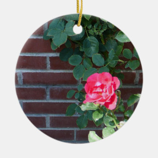 Roses on Brick Wall Ornament