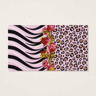 Roses on Leopard Print and Zebra Stripes on Pink Business Card