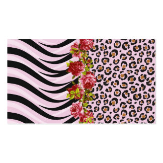 Roses on Leopard Print and Zebra Stripes on Pink Pack Of Standard Business Cards