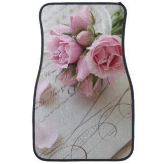 Roses on script vertical car mat