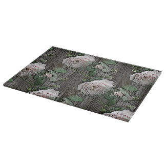 Roses on Weathered Wood Cutting Board