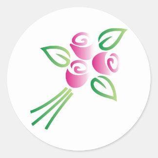 Roses on White Round Sticker