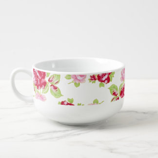 Roses On White Soup Mug