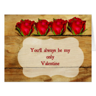 Roses on wood Valentine's Day big card